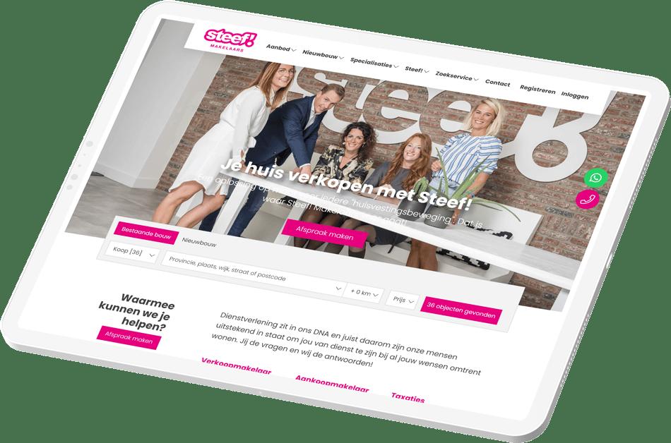Tablet met de Steef.nl Housenet website